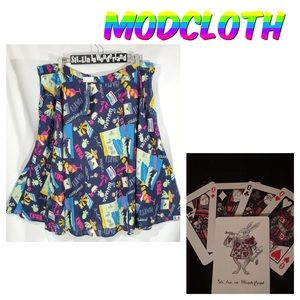 New ModCloth Travel Print Linen Skirt 3X Retro